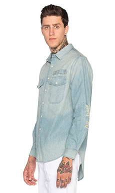 Stampd Repaired Denim Shirt in Indigo