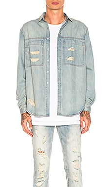CHEMISE EN DENIM DISTRESSED AGAINST