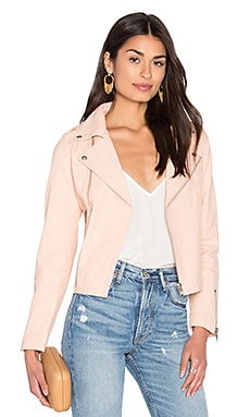 Harlow Leather Jacket en Rose