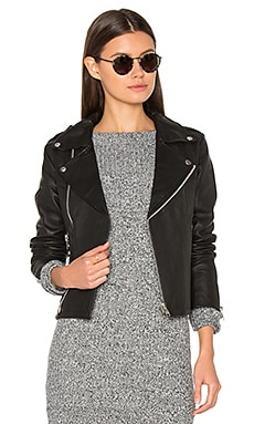 Harlow Leather Jacket in Schwarz