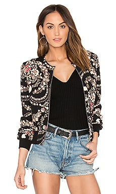 Dylann Bomber Jacket in Black Florete