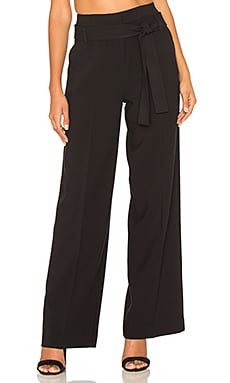 Wide Leg Tied Waist Pant in Noir