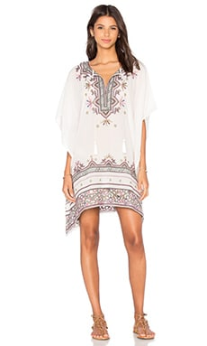 Star Mela Asta Embroidered Kaftan in Ecru & Multi