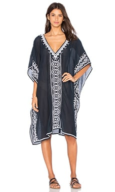 Star Mela Vera Embroidered Kaftan in Navy & White