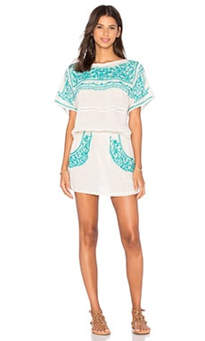 Star Mela Pabla Embroidered Dress in Ecru & Turquoise
