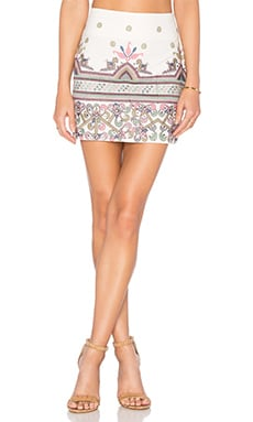 Star Mela Asta Embroidered Skirt in Ecru & Multi