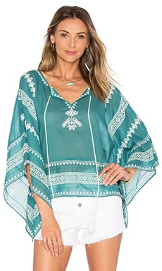 Letti Embroidered Top in Petrol & Ecru