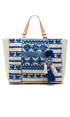 Star Mela Leila Embroidered Bag in Ivory & Blue
