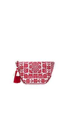 Saga Purse in Ecru & Red