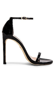 Stuart Weitzman Nudist Heel in Black Patent