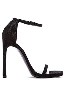 Stuart Weitzman Nudist Heel in Black Goosebump