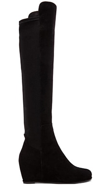 Semi Stretch Suede Boot in Black