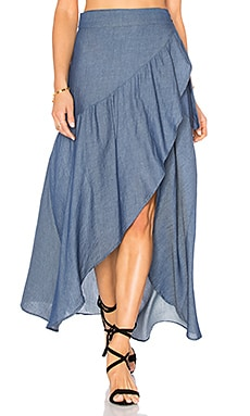 Stillwater Wrap Sum Den Skirt in Indigo