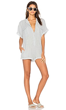 Painters Romper in White & Indigo
