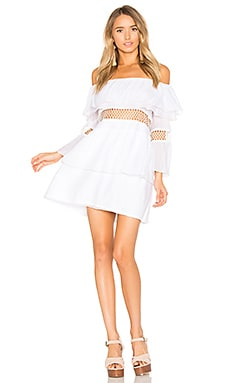 Closer Frill Off Shoulder Dress in Weiß