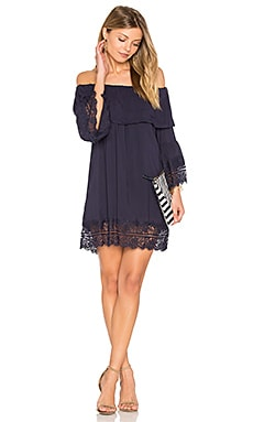 Oasis Off Shoulder Mini Dress in Midnight