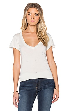 Sub_Urban RIOT Stone Wash V-Neck Tee in Antique White Stone Wash
