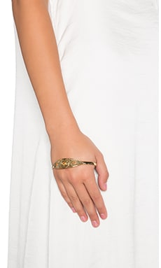 SunaharA Evil Eye Palm Cuff in Gold & Fire Opal
