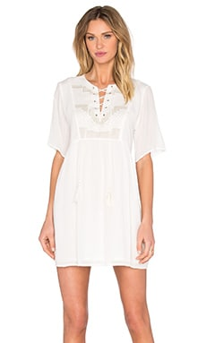 SUNCOO Cerise Mini Dress in Blanc Casse