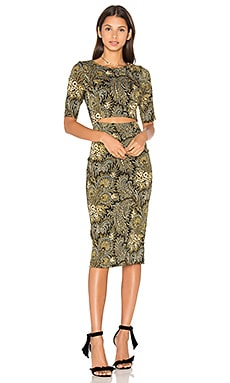 SUNO Cut Out Dress in Paisley Olive