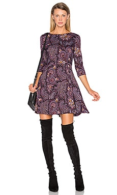Fit And Flare Dress in Paisley Wine