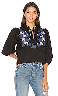 SUNO Two Tone Floral Top in Black & Blue