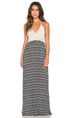Surf Gypsy Textured Print Crochet Top Maxi Dress in Black & White