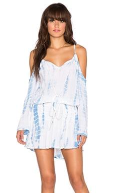 Surf Gypsy Cold Shoulder Smock Waist Dress in Light Blue