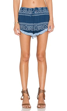 Surf Gypsy Geo Ombre Ruffle Trim Shorts in Navy & White