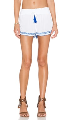 Surf Gypsy Embroidered Shorts in White & Royal