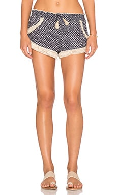 Surf Gypsy Fringe Trim Shorts in Navy Shark Tooth & Natural