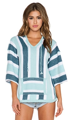 Surf Gypsy Stripe Baja Hoody in Ivory & Light Blue