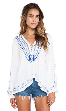 Surf Gypsy Embroidered Hi-Lo Tunic in White & Royal