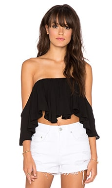 Surf Gypsy Drape Sleeve Ruffle Bandeau in Black