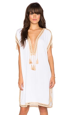 Surf Gypsy Crochet Border Cover Up in White & Tan