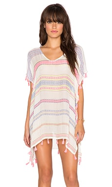 Surf Gypsy Tassel Trim Poncho Cover Up in Multi Neon