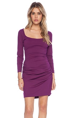 Susana Monaco Gather Sleeve Dress in Berry