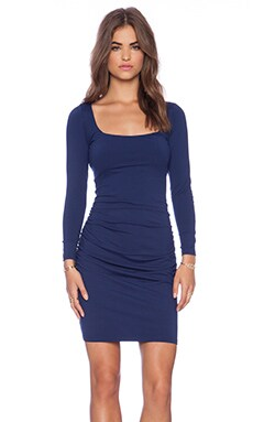 Susana Monaco Gather Sleeve Dress in Inkwell