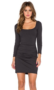 Susana Monaco Gather Sleeve Dress in Onyx