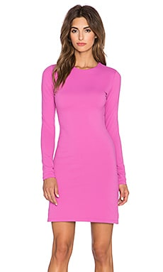 Susana Monaco Long Sleeve Crew Dress in Bouganvillea