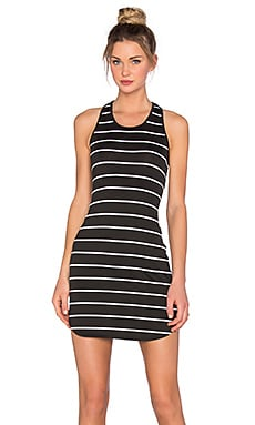 Susana Monaco Nautical Racer Back Dress in Black & Sugar
