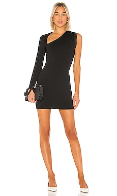 One Sleeve Wrap Neck Mini Dress Susana Monaco $194