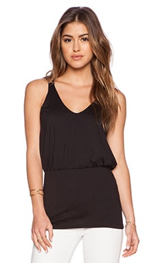 Susana Monaco String Blouson Top in Black