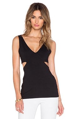 Susana Monaco V Side Cut Out Tank in Black
