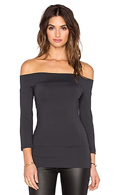Susana Monaco Banded Off the Shoulder Top in Onyx