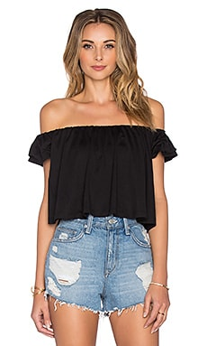 Off the Shoulder Crop Top in Black