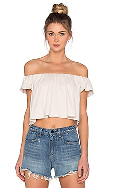 Susana Monaco Off the Shoulder Crop Top in Blanched Almond