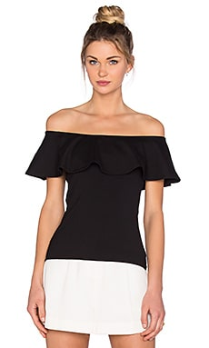 Susana Monaco Ruffle Off the Shoulder Top en Noir