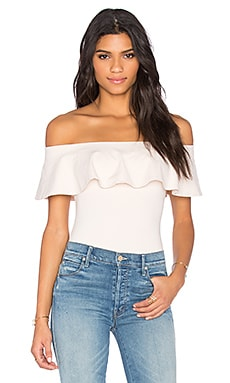 Susana Monaco Ruffle Off the Shoulder Top en Blanched Almond