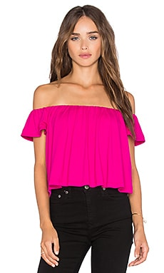 Off the Shoulder Crop Top in Pink Glo